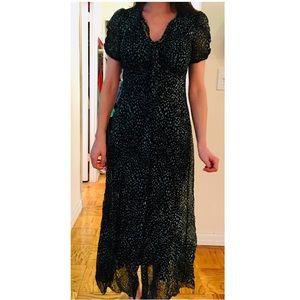 Anna Sui Heart Pattern Silk Georgette Maxi Dress